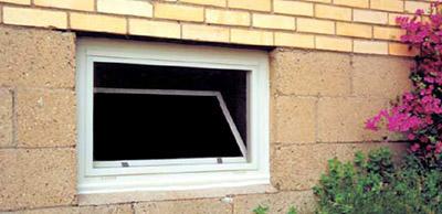 hopper window in a basement